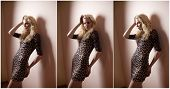 image of tight dress  - Attractive sexy blonde in animal print tight fit short dress posing provocatively indoor - JPG