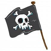 picture of skull crossbones flag  - pirate flag isolated on white comic illustration - JPG