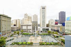 image of trident  - A day view of the Union Square in downtown San Francisco California United States. A landmark of the area with a column of a statue of Victory holding a trident on top in the heart of the city center. ** Note: Soft Focus at 100%, best at smaller sizes - JPG