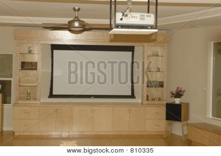 Of Home Theater Design With Big Screen And Projector Shown Equipment