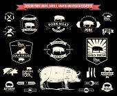 foto of working animal  - Lots of vector pork design elements for your work - JPG