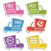 picture of lorries  - Free delivery fast delivery free shipping around the world around the clock colorful logo icons set with blend shadows on white background - JPG