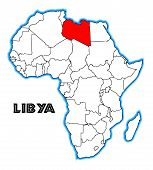 foto of libya  - Libya outline inset into a map of Africa over a white background - JPG