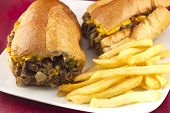 foto of cheesesteak  - A messy Philly Cheesesteak with onions peppers and mushrooms fries on the side
