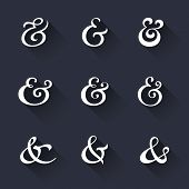 stock photo of ampersand  - Custom decoration ampersands with long shadows - JPG