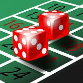 picture of roulette table  - Two red dice with shadow on green roulette table illustration vector - JPG