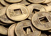 pic of copper coins  - Feng shui coins close - JPG