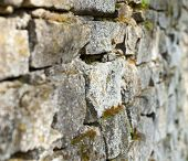 stock photo of mortar-joint  - Old stone moss - JPG