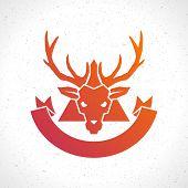 stock photo of deer head  - Deer head silhouette isolated on white background vintage vector design element illustration  - JPG