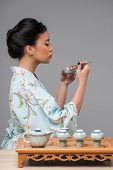 image of japanese woman  - Japanese tea ceremony - JPG