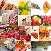 stock photo of high calorie foods  - high protein food collection collage nested on white frame - JPG