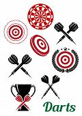 Постер, плакат: Darts sporting red and black design elements