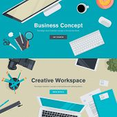 pic of creativity  - Flat Style Modern Design Concepts of Creative Office Workspace - JPG