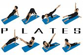 stock photo of pilates  - set of eight silhouettes of different pilates postures - JPG