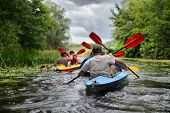 stock photo of raft  - river Sula 2014 Ukraine june14 ; river rafting kayaking editorial photo; river Sula 2014 Ukraine june14