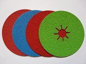 stock photo of abrasion  - abrasive sanding discs in blue  - JPG