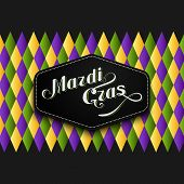 foto of tuesday  - vector illustration of Mardi Gras or Shrove Tuesday lettering label on checkered background - JPG