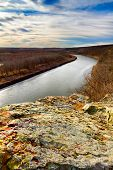 stock photo of bluff  - A verical image of a bluff in Monegaw Springs Missouri overlooking the Osage River - JPG