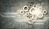 stock photo of mechanical engineer  - Cogwheels and gears mechanism on digital business background - JPG