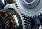 stock photo of interlocking  - Gear metal wheels close - JPG