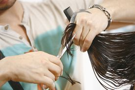 image of hair comb  - hairdresser cutting woman in hair salon comb - JPG