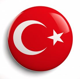 picture of lapel  - Turkey flag icon isolated on white - JPG