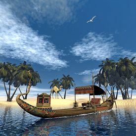 foto of barge  - Egyptian sacred barge with throne floating on Nile river next to sand coast with palm trees and camel  - JPG