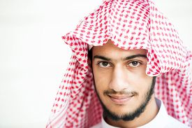 stock photo of arab man  - Portrait of Arabic young man - JPG