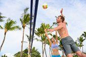 picture of beach-ball  - Friends playing beach volleyball sport in summer - JPG