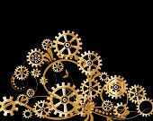 foto of steampunk  - Abstract mechanical background with floral elements - JPG
