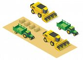 picture of combine  - Isometric icons representing combine harvester and tractor - JPG