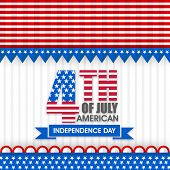 picture of nationalism  - American Independence Day celebration with stylish text 4th of July in national flag colors - JPG