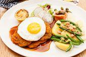 picture of wieners  - Wiener Schnitzel with Potatoes and Fresh Vegetables - JPG