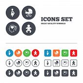 stock photo of buggy  - Maternity icons - JPG