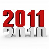 stock photo of new years celebration  - New Year 2011 pushing 2010 down  - JPG