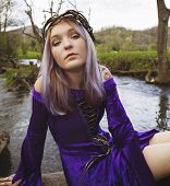 picture of fairyland  - Beautiful young woman wearing purple velvet gown and twig crown sitting on some rocks by a river - JPG