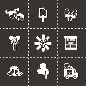 picture of ice cream parlor  - Vector Ice cream icon set on black background - JPG