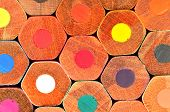 pic of honeycomb  - Colored wooden pencils grouped like Honeycomb - JPG