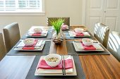 picture of guest-house  - Contemporary dining room table with plates and bowls in a house hotel - JPG
