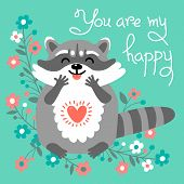 picture of raccoon  - Card to the birthday or other holiday with cute raccoon and a declaration of love - JPG
