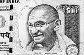 image of indian currency  - Monochrome image of Mahatma Gandhi on an Indian currency note - JPG