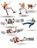 stock photo of floating  - mixed acting of floating man action isolated white background traveling and leisure activities theme - JPG
