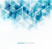 picture of brochure  - Abstract geometric background with transparent blue triangles - JPG