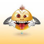 picture of maliciousness  - The malicious smiling shows tongue illustration clip - JPG