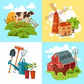 picture of haystack  - Farm design flat concept set with cow and haystack windmill and tree horse and barn and garden tools isolated  vector illustration - JPG
