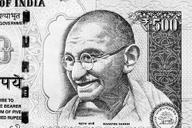 picture of gandhi  - Monochrome image of Mahatma Gandhi on an Indian currency note - JPG