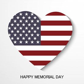 stock photo of memorial  - illustration of a heart for Happy Memorial Day - JPG