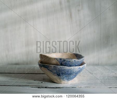 Beige And Blue Ceramic Bowls