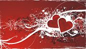 stock photo of broken heart flower  - wedding or valentines day illustration with red hearts anfd floral decorations - JPG