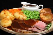 British roast beef dinner with Yorkshire puddings.